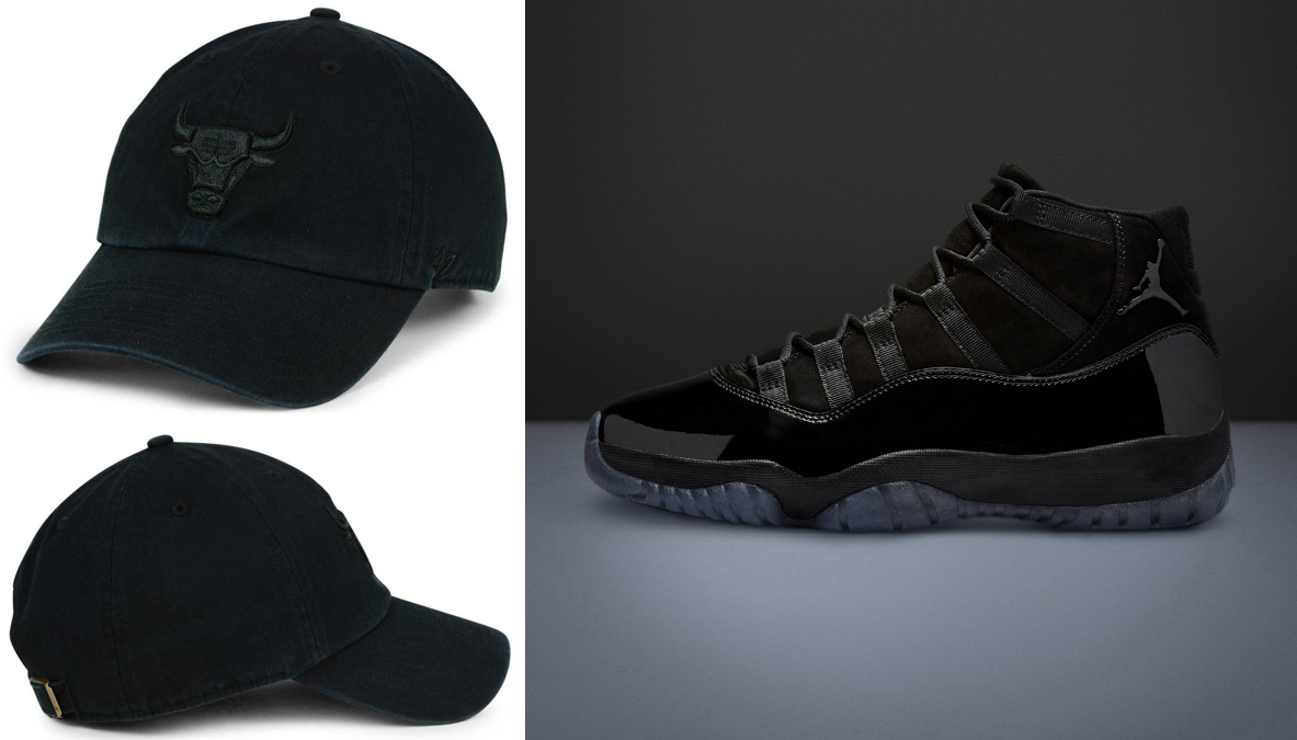 "7aa2558f7de9a2 Air Jordan 11 ""Cap and Gown"" x Chicago Bulls  47 NBA Black on Black CLEAN  UP Cap"