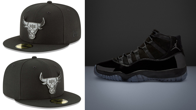 "big sale 9b450 10d03 Air Jordan 11 ""Cap and Gown"" x Chicago Bulls New Era Sleeked Finish 59FIFTY Fitted  Hat"