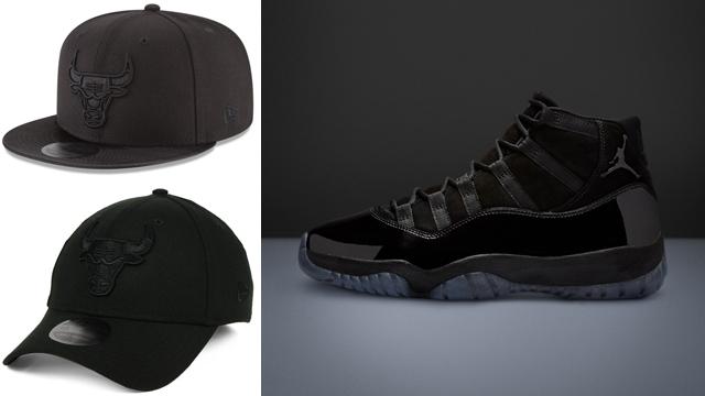 "bebfc4188bad Air Jordan 11 ""Cap and Gown"" x Chicago Bulls New Era NBA Blackout Caps"