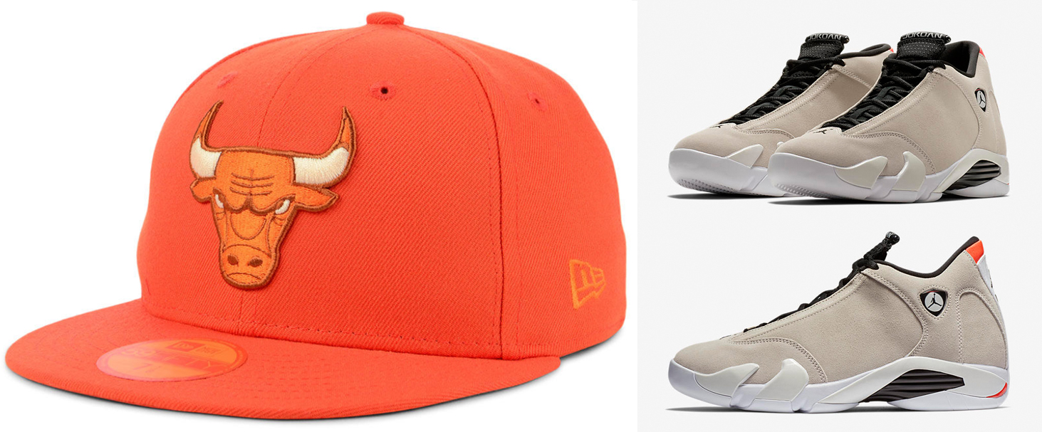 "f66510b1c944 Air Jordan 14 ""Desert Sand"" x Chicago Bulls New Era NBA Color Prism Pack  59FIFTY Cap"