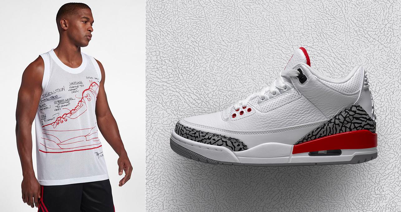 "3a0cb3c6c688bb Air Jordan 3 ""Katrina   Hall of Fame"" x Jordan Retro 3 Mesh Sketch Jersey"