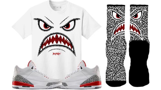 "7faa2a4d6b0 Original RUFNEK Sneaker Shirts and Socks to Match the Air Jordan 3 ""Katrina  / Hall of Fame"""