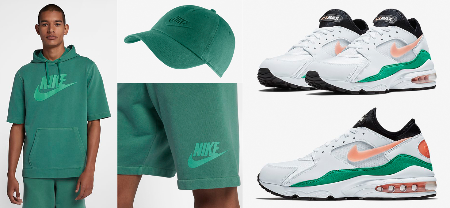 "59413862ad Nike Air Max 93 ""Watermelon"" x Nike Sportswear Wash Short Sleeve Hoodie,  Shorts and Hat"