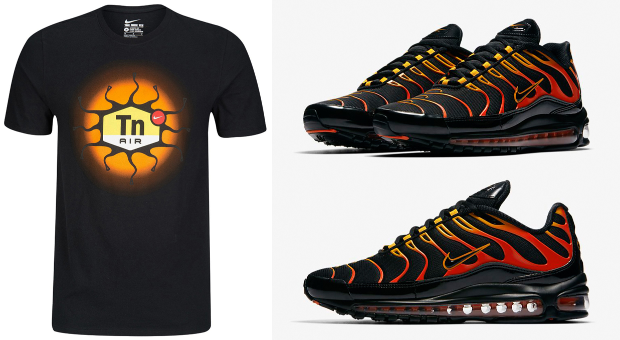 low priced 02228 cf60e Nike Air Max 97 Plus Shock Orange Shirt | SneakerFits.com
