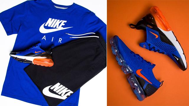 Nike Air Max 270 Blue Crimson Shirt and Shorts Match