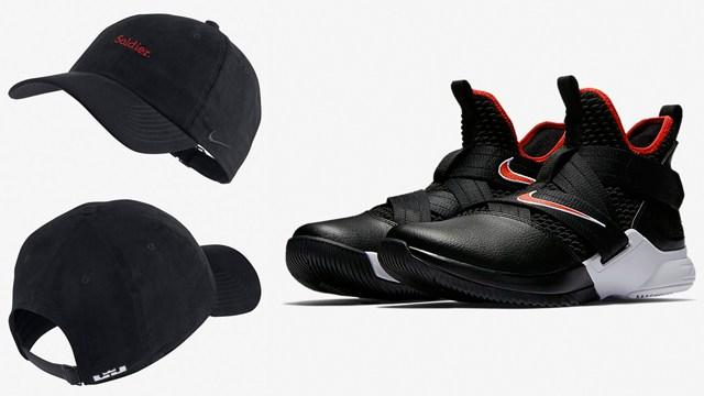 "dd2fbb84 Nike LeBron Soldier 12 ""Bred"" x Nike LeBron ""Soldier"" Heritage 86 Strapback  Hat"