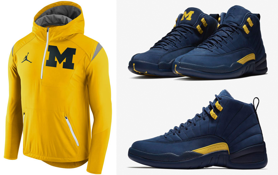 "8d56c02df60f Air Jordan 12 ""Michigan"" x Jordan Brand Michigan Wolverines Jackets"