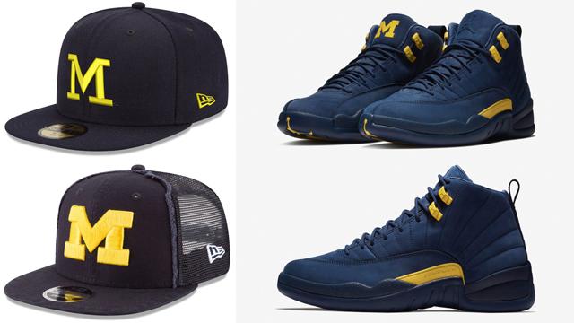 "ff0322b906771 New Era Michigan Wolverines Caps to Match the Air Jordan 12 ""Michigan"""