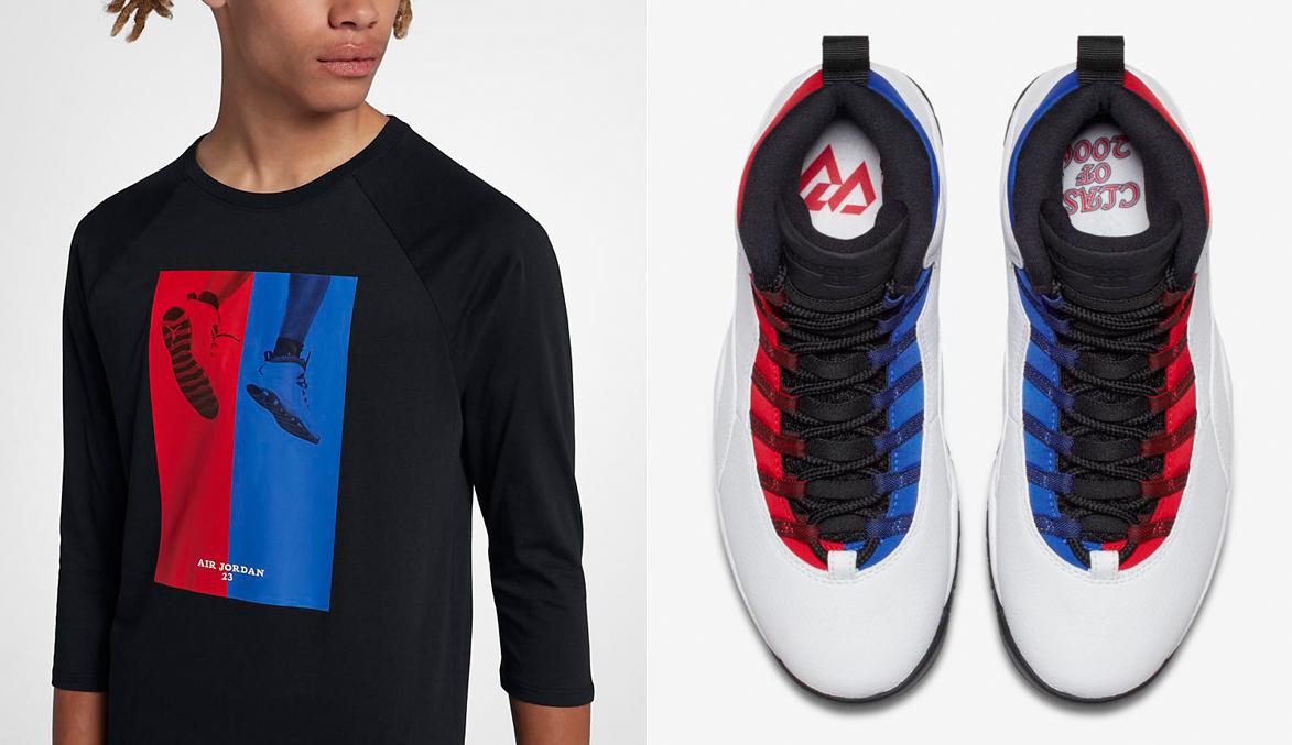 "Air Jordan 10 ""Russell Westbrook"" x Jordan Sportswear AJ 10 CNXN 3 4 Sleeve  T-Shirt 8b21a73da96c"