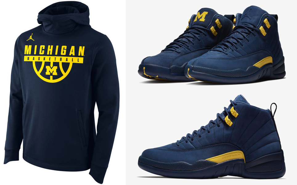 Michigan Jordan Gear >> Air Jordan 12 Michigan Hoodies To Match Sneakerfits Com