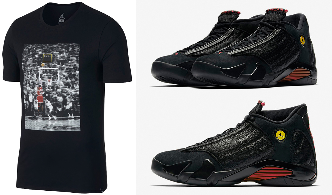"51cfdb48ac2e8f Air Jordan 14 ""Last Shot"" x Jordan Retro 14 Last Shot Photo T-Shirt"