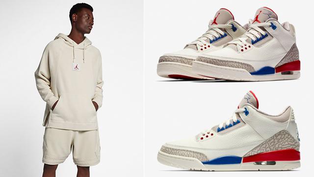 """af3ae0b1720707 Air Jordan 3 """"International Flight"""" x Jordan Wings Washed Fleece Hoodie and  Diamond Shorts"""
