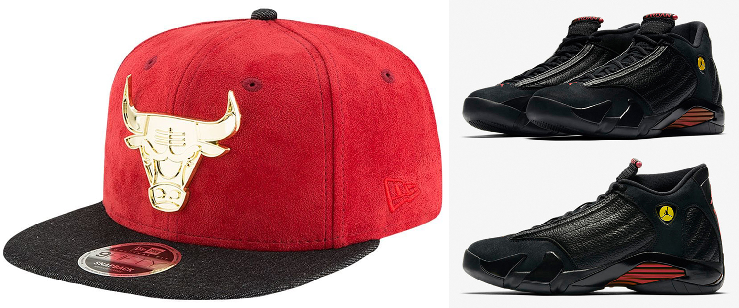 "a8089b45b42 Air Jordan 14 ""Last Shot"" x Chicago Bulls New Era NBA Metal Suede Snapback  Cap"