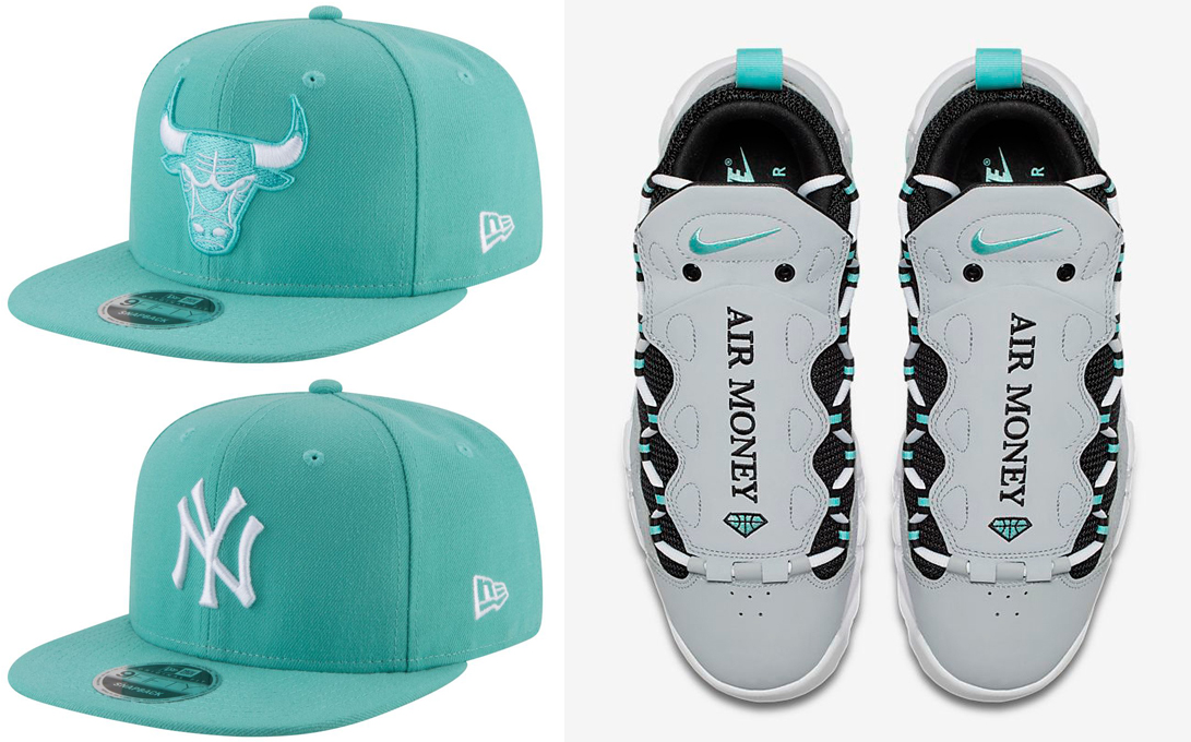 nike-air-more-money-grey-green-mint-hats-to-match