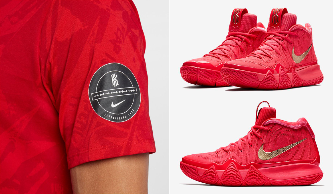 9a1eceedfc88 Nike Kyrie 4 Red Carpet Shirts to Match