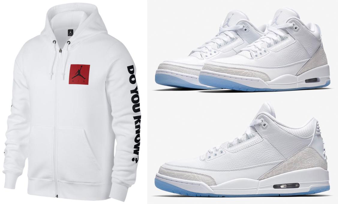 hot sale online e192c 27407 Air Jordan 3 Pure Triple White Hoodie | SneakerFits.com