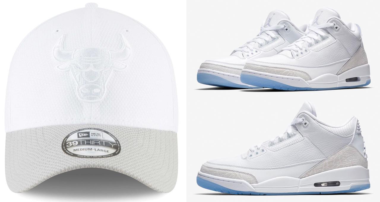 da4aff43580 Air Jordan 3 Pure White New Era Bulls Hat | SneakerFits.com