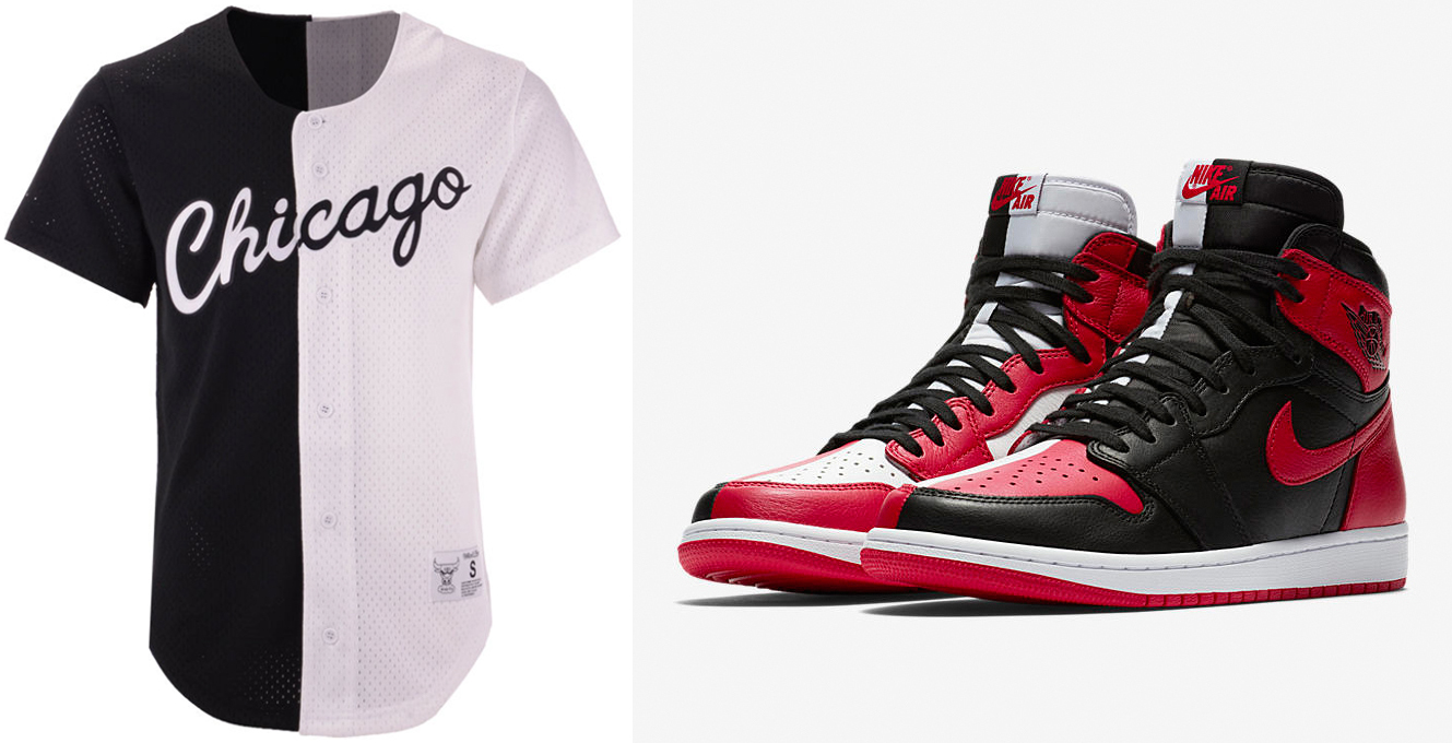 "a052c4b1423 Air Jordan 1 ""Homage to Home"" x Chicago Bulls Mitchell   Ness NBA Split Mesh  Front Button Jersey"