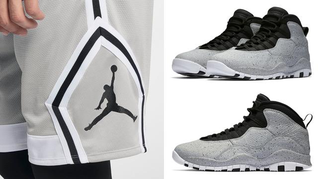 "0b24a6e9a4a7 Jordan Brand Basketball Shorts to Match the Air Jordan 10 ""Cement"" (Light  Smoke Grey)"