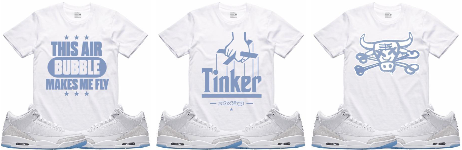 new arrival 3c9a4 dffe1 Jordan 3 Pure Money White Sneaker Shirts by Retro Kings ...