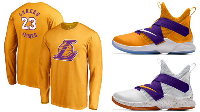 "726cde5e32ab Along with a new gold and purple colorway in the Nike LeBron Soldier 12 iD  ""Lakers"" shoe comes a look at a few new LeBron James LA Lakers Long Sleeve  ..."