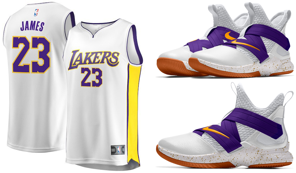 purchase cheap 2a232 f1653 LeBron James LA Lakers Jerseys Nike Shoe Match | SneakerFits.com