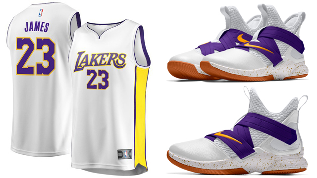 "42763bfe675b Nike LeBron Soldier 12 iD ""Lakers"" x LeBron James LA Lakers Replica  Basketball Jerseys"
