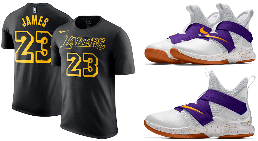 competitive price 0c8b4 b6c5d LeBron James LA Lakers Nike Shirt and Shoe | SneakerFits.com