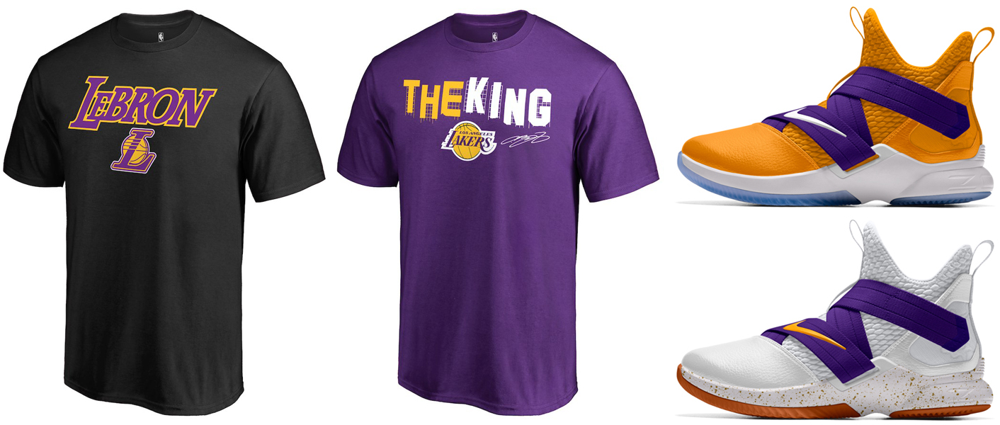 "ccba0e430fe4 LeBron James LA Lakers Hometown Collection T-Shirts x Nike LeBron Soldier 12  iD ""Lakers"""