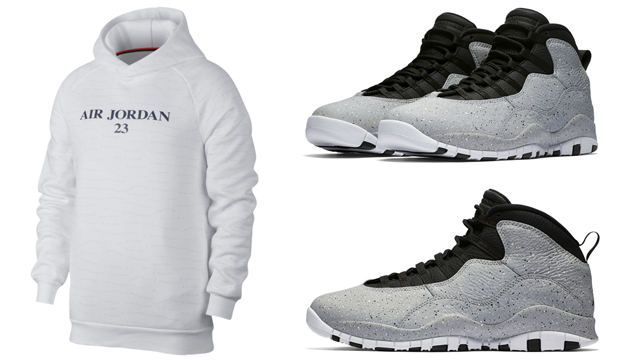 "super popular 367fd 6fa90 A new Jordan Retro 10 Jumpman Fleece Pullover Hoodie has popped up just in  time for the release of the Light Smoke Grey Air Jordan 10 ""Cement"" retro  kicks."