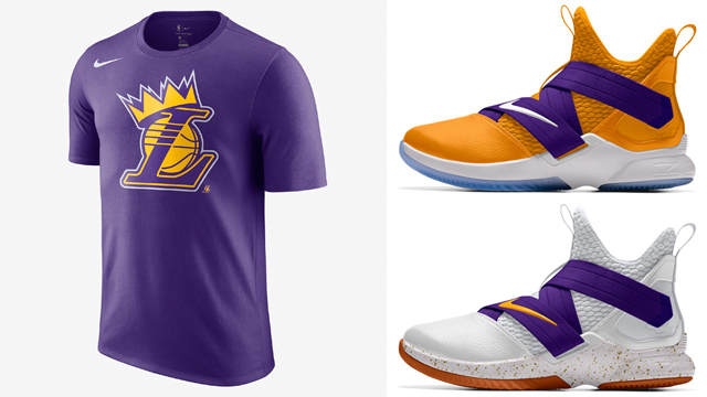 "53d8a46eac89 LeBron James Los Angeles Lakers Crown T-Shirt x Nike LeBron Soldier 12 iD "" Lakers"""