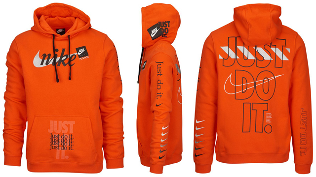 """117923053b69 Joining the black and white styles that recently released is this bright  orange color scheme in the Nike JDI Club """"Just Do It"""" Pullover Hoodie  that s now ..."""