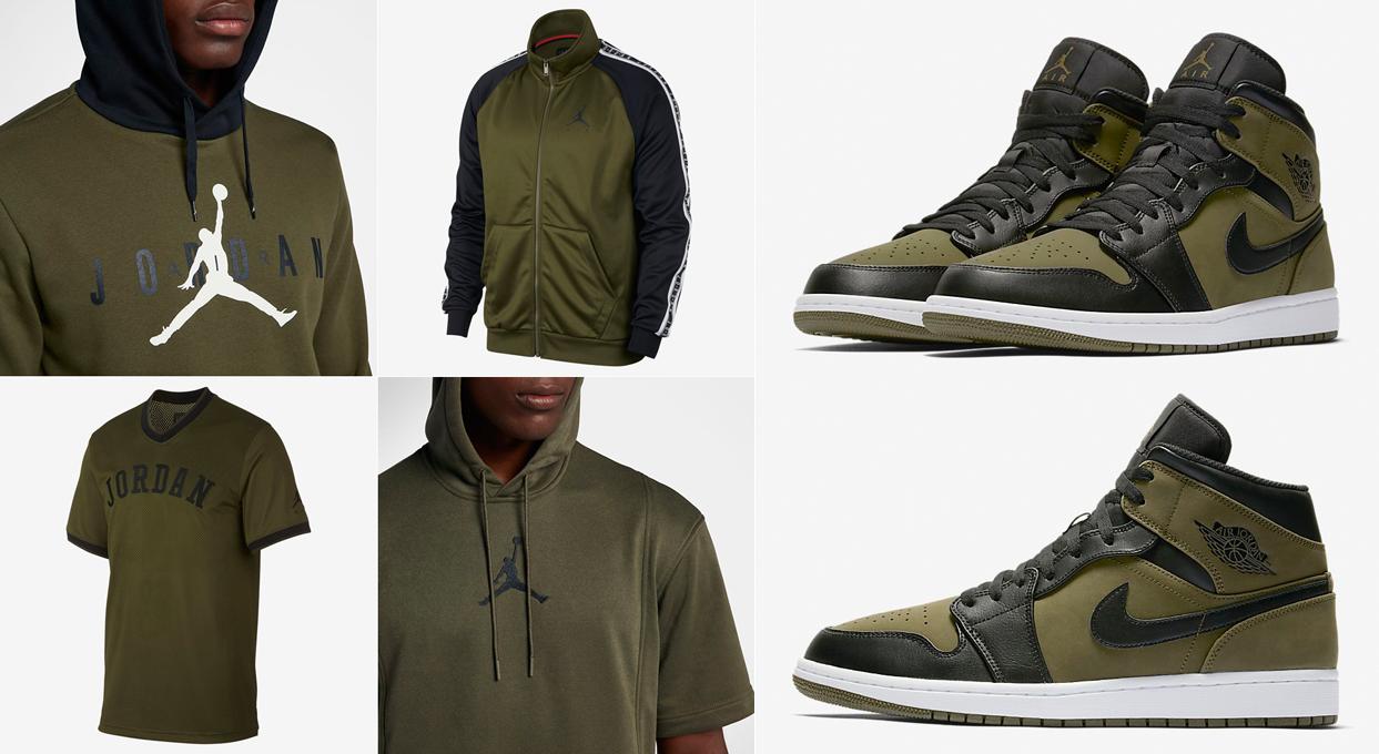 "f6792b60ba6 Air Jordan 1 Mid ""Olive Canvas"" x Jordan Brand Olive Canvas Clothing to  Match"
