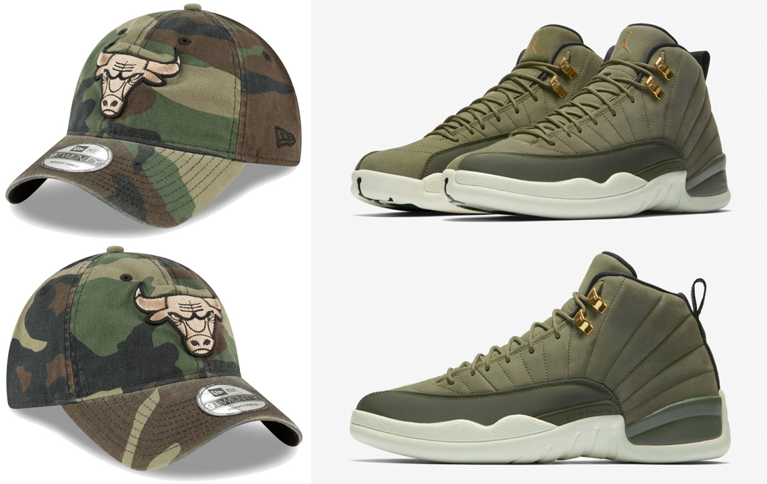 air-jordan-12-chris-paul-olive-bulls-dad-hat-match