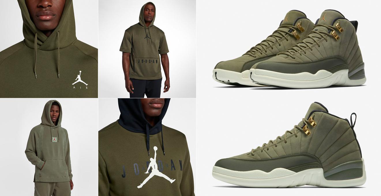 air-jordan-12-chris-paul-olive-hoodie