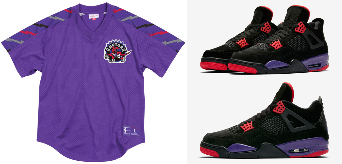 new products abe0c 9d880 Jordan 4 Raptors Clothing Match Mitchell and Ness ...