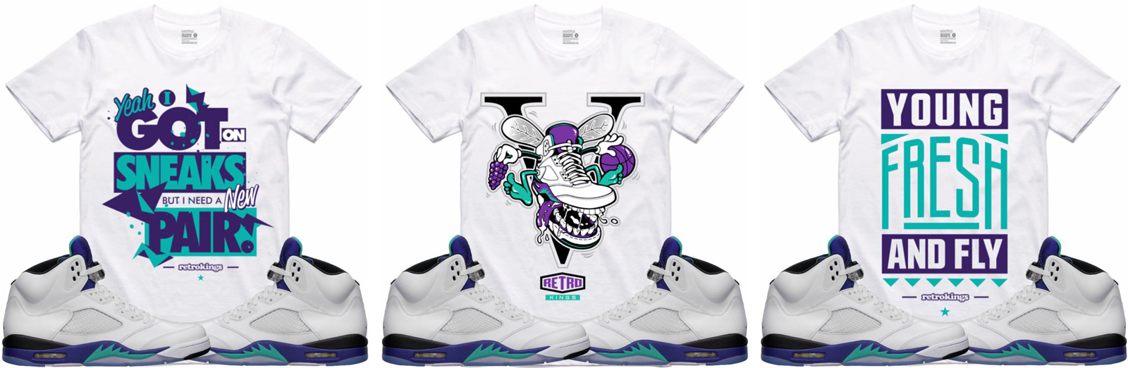 "955e281d214 Air Jordan 5 ""Grape / Fresh Prince"" x Retro Kings Sneaker Shirts to Match"