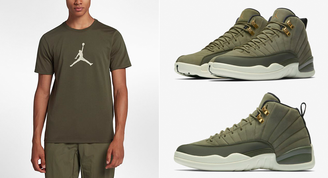 chris-paul-jordan-12-olive-t-shirt-match