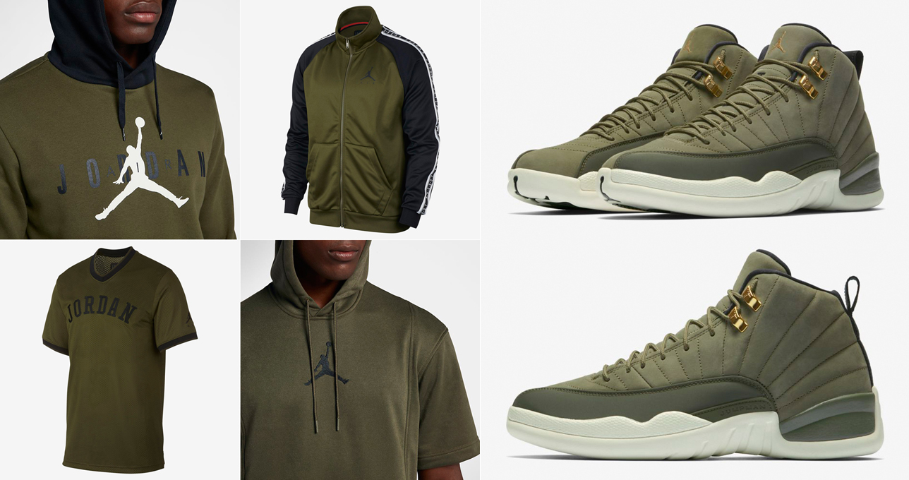 new style 79276 09c49 clothing-to-match-the-air-jordan-12-olive-