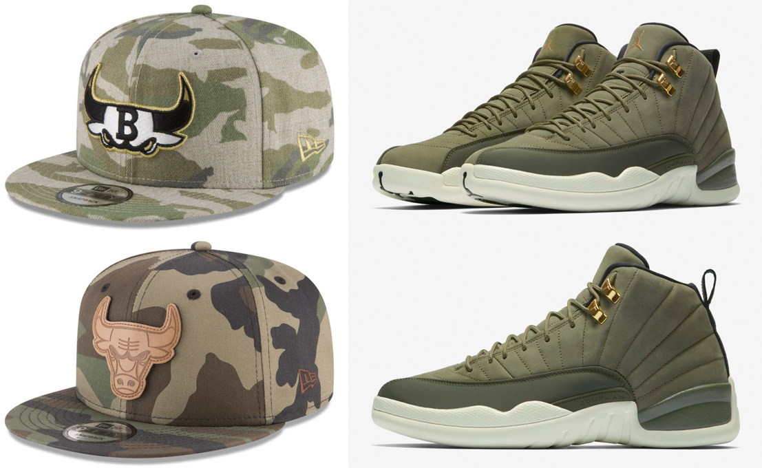 jordan-12-chris-paul-olive-bulls-camo-hats-to-match