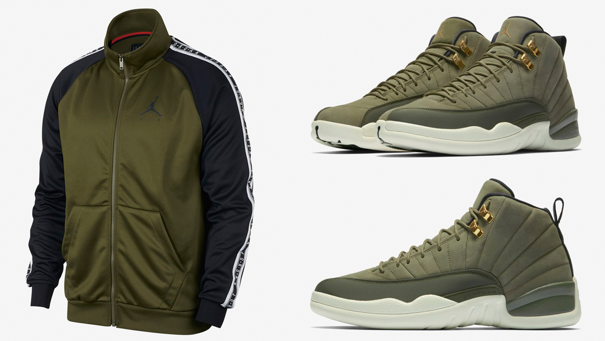 jordan-12-chris-paul-olive-jacket-match