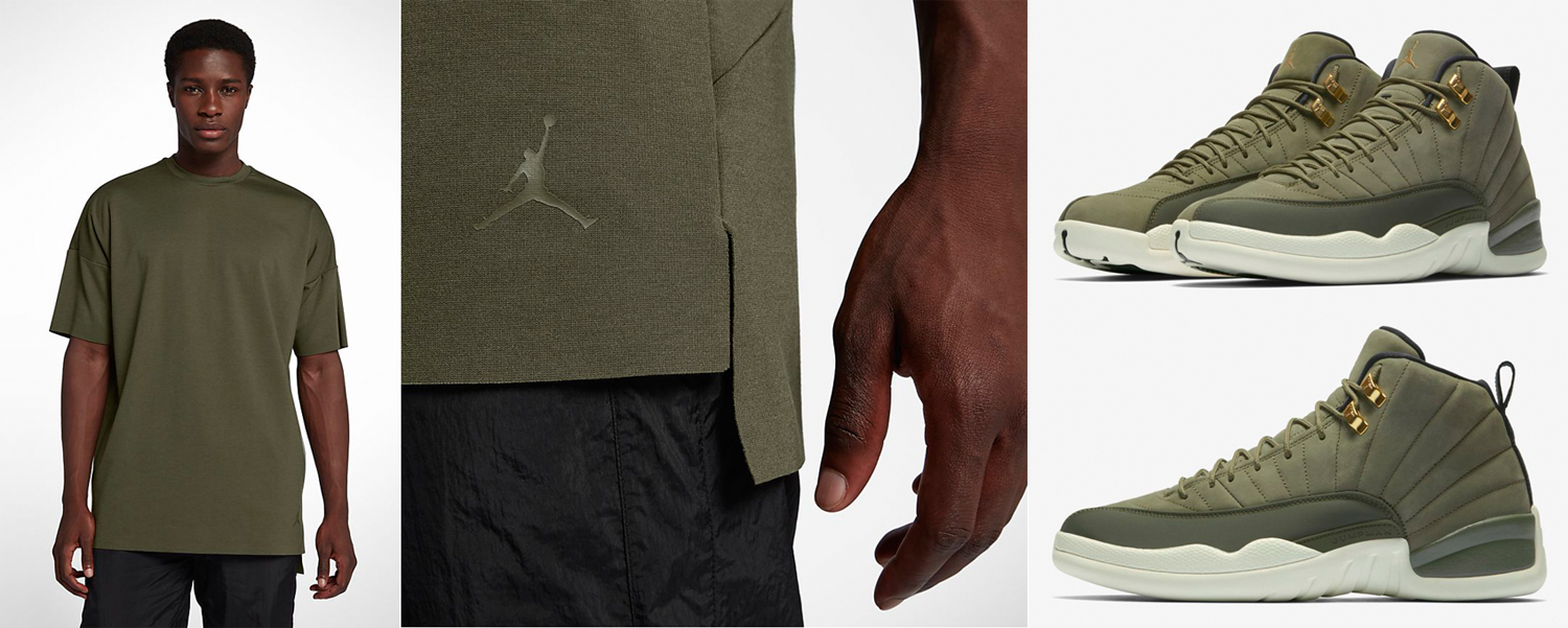 jordan-12-chris-paul-olive-matching-shirt