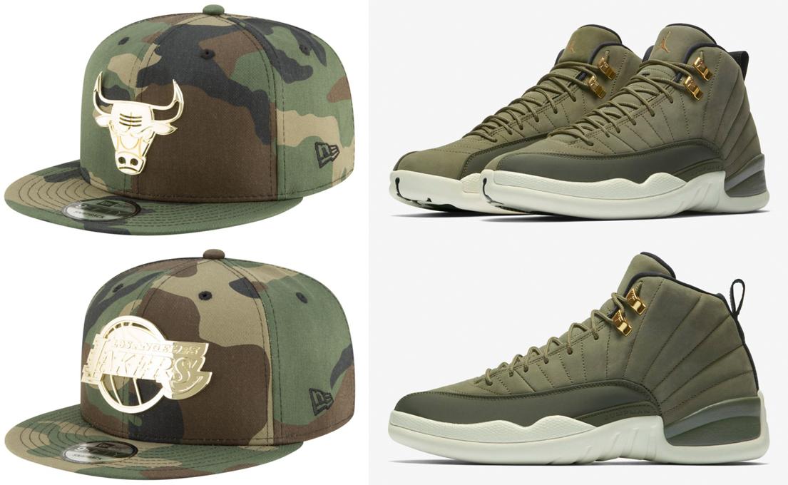 jordan-12-chris-paul-olive-new-era-snapback-hats