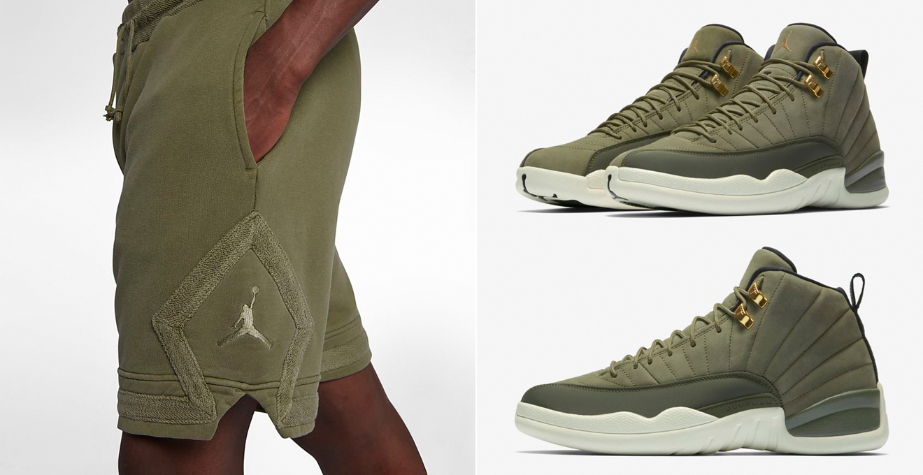 "f5120ab61cfcb4 jordan-12-chris-paul-olive-shorts-match. Styled to slide on with the Air  Jordan 12 Chris Paul ""Class of 2003″ sneakers are these new Olive Canvas  colored ..."