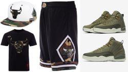 jordan-12-olive-chris-paul-bulls-clothing-match