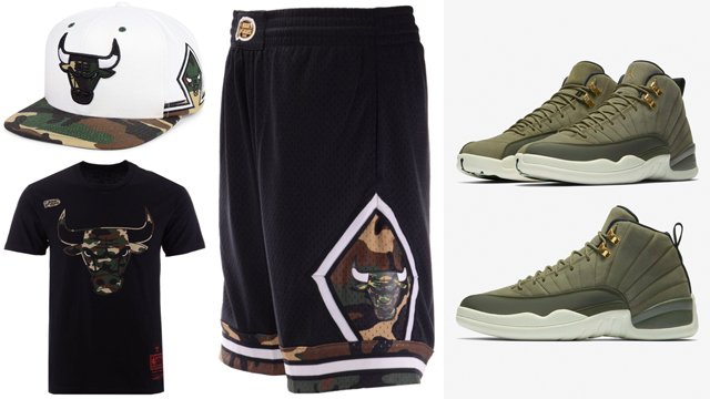 jordan-12-olive-chris-paul-bulls-clothing-match