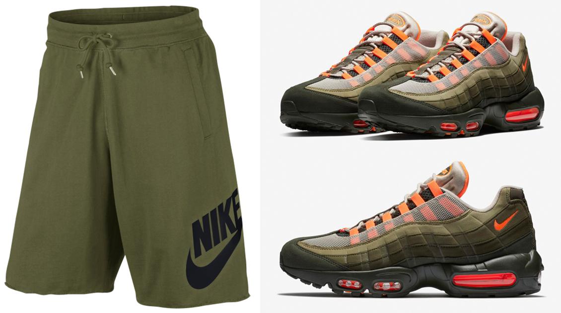 "b27ce29bb7e857 Nike Air Max 95 ""Olive and Total Orange"" x Nike Sportswear Olive Shorts to  Match"