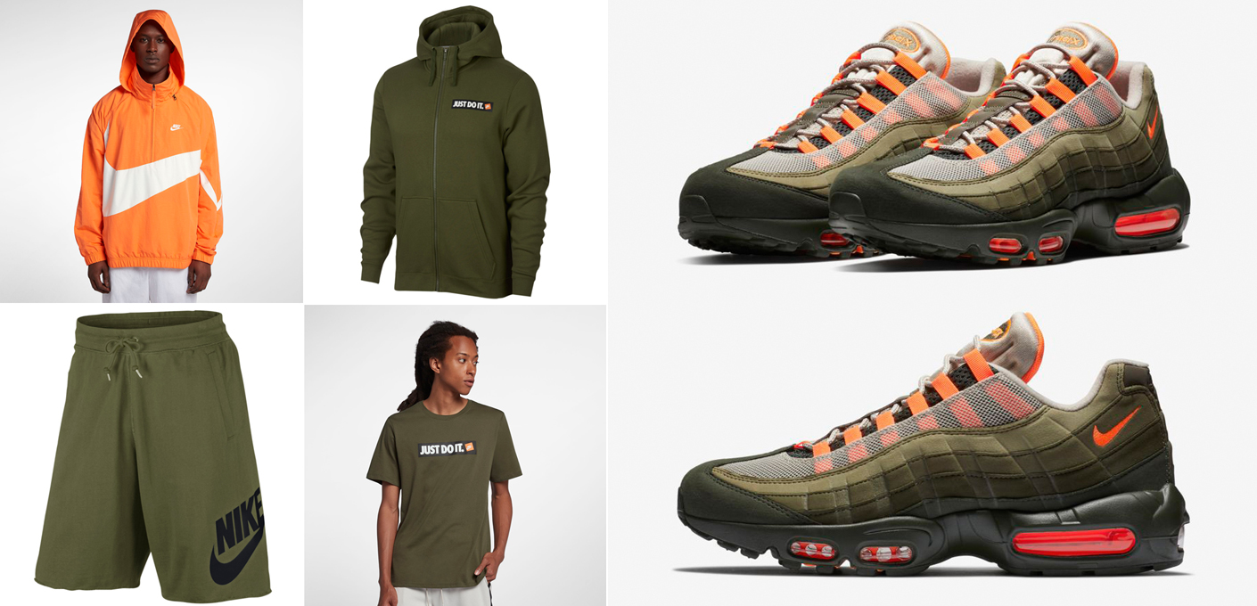 b6d1676480 Nike Air Max 95 Olive and Orange Clothing | SneakerFits.com