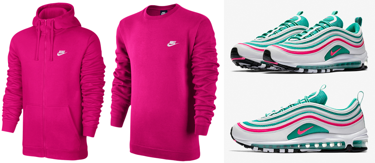 "b65f9d5d4f7b Nike Air Max 97 ""South Beach"" x Nike Sportswear Watermelon Pink Sweatshirts  to Match"