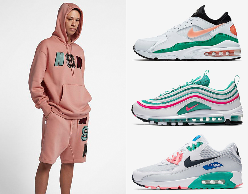 "002cce4643 Nike Sportswear NSW Fleece Hoodie and Shorts to Match the Nike Air Max  ""South Beach"" Sneakers"